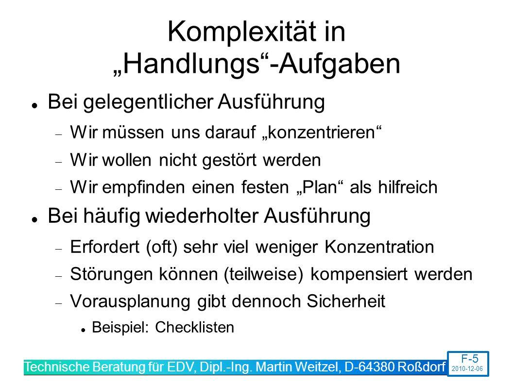 """Komplexität in """"Handlungs -Aufgaben"""