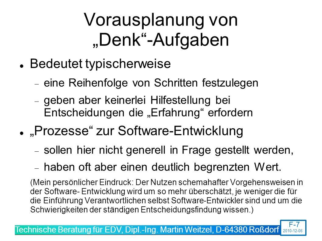"""Vorausplanung von """"Denk -Aufgaben"""
