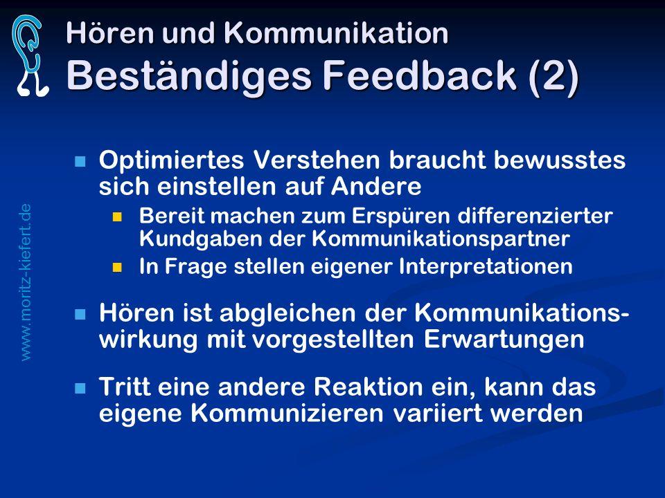 Hören und Kommunikation Beständiges Feedback (2)