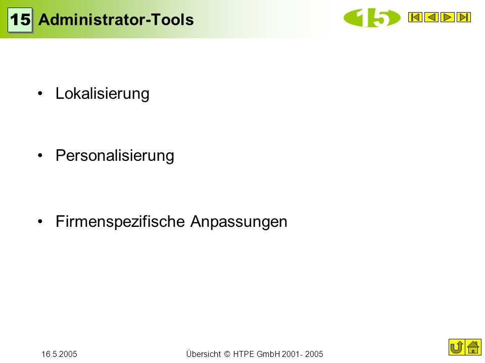 15 Administrator-Tools 15 Lokalisierung Personalisierung