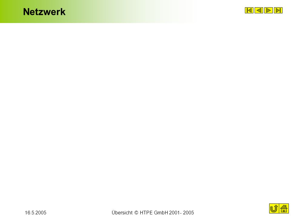 Netzwerk 16.5.2005 Übersicht © HTPE GmbH 2001- 2005