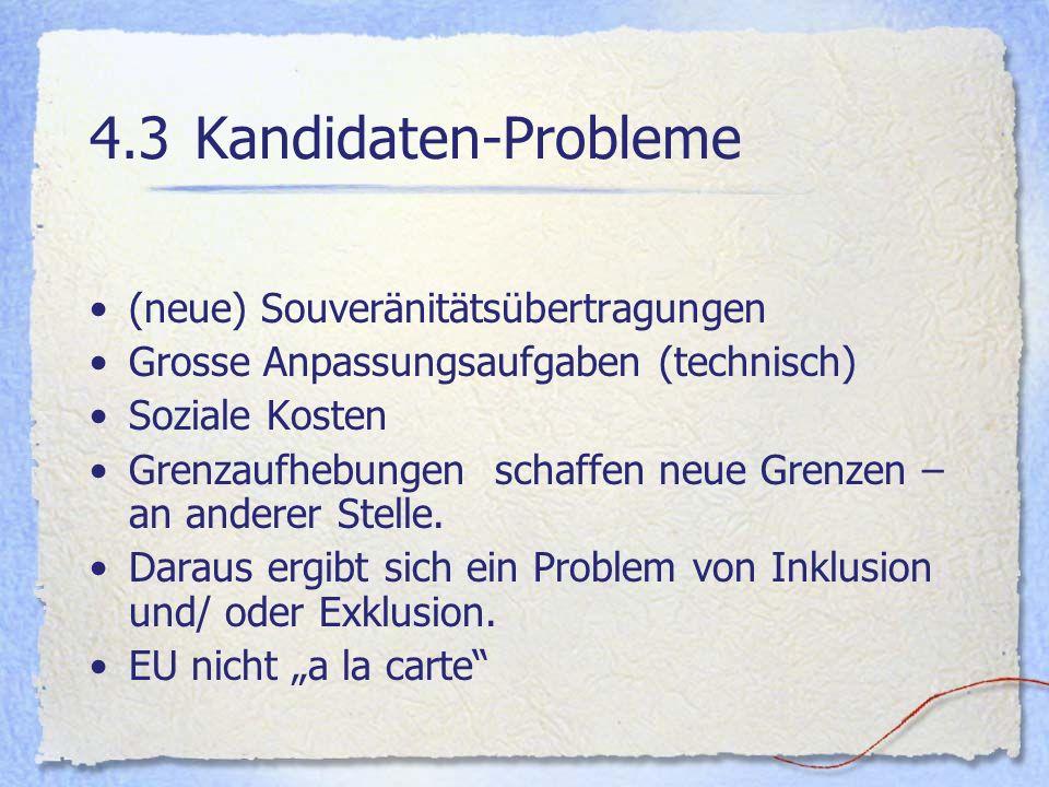 4.3 Kandidaten-Probleme (neue) Souveränitätsübertragungen