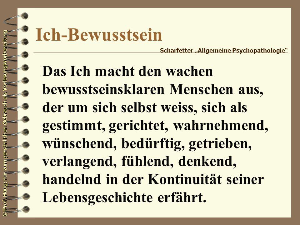 """Ich-Bewusstsein Scharfetter """"Allgemeine Psychopathologie"""