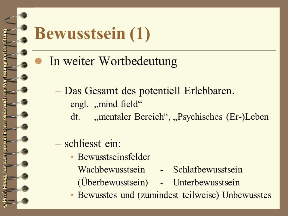 Bewusstsein (1) In weiter Wortbedeutung