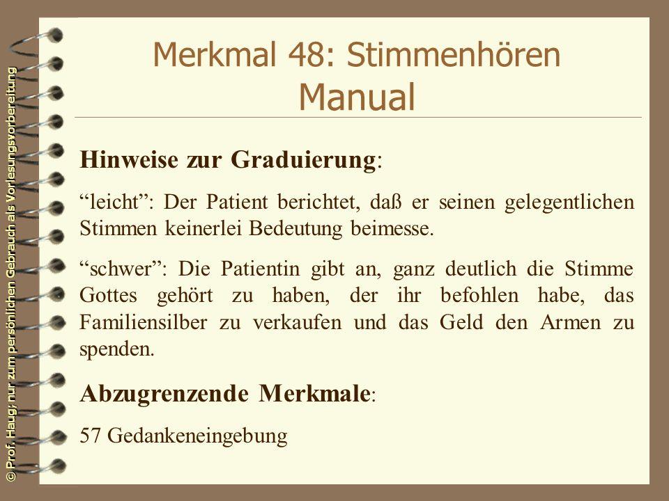 Merkmal 48: Stimmenhören Manual