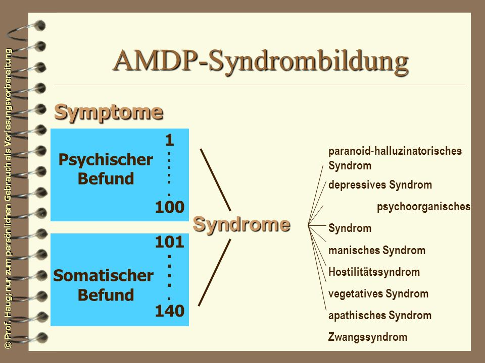 AMDP-Syndrombildung Symptome Syndrome 1 Psychischer 100 Befund 101