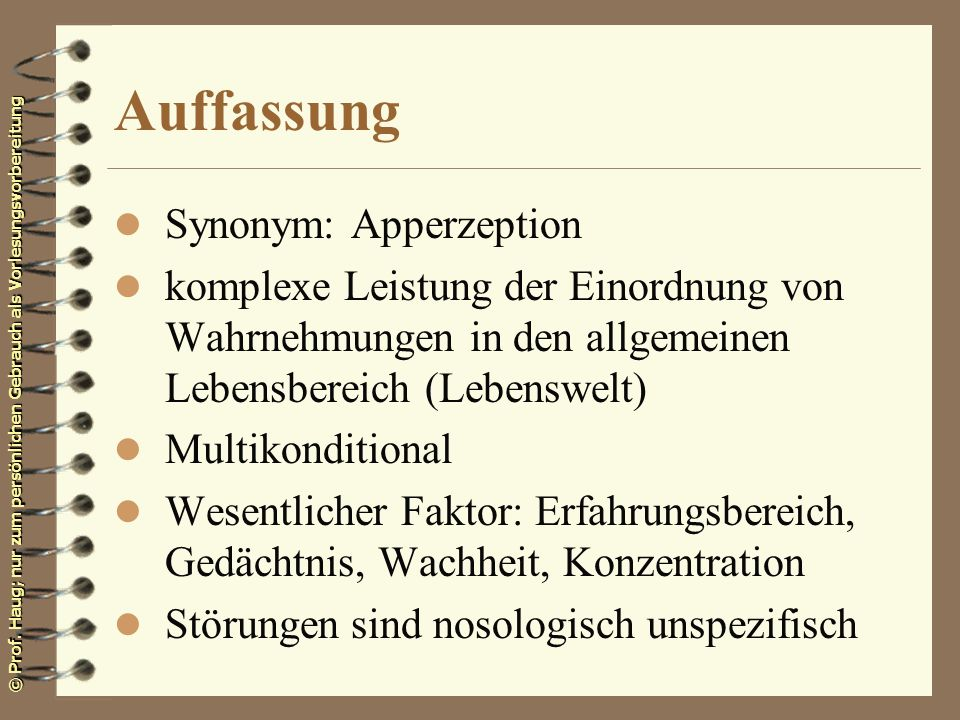 Auffassung Synonym: Apperzeption