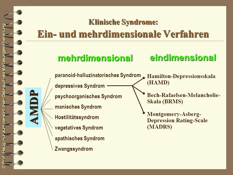 Klinische Syndrome: Ein- und mehrdimensionale Verfahren