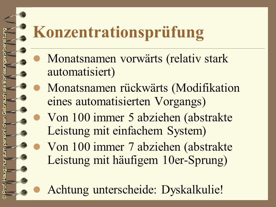 Konzentrationsprüfung
