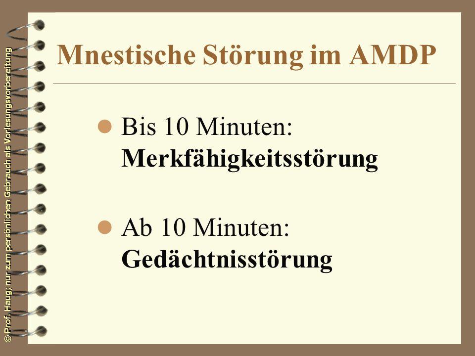Mnestische Störung im AMDP