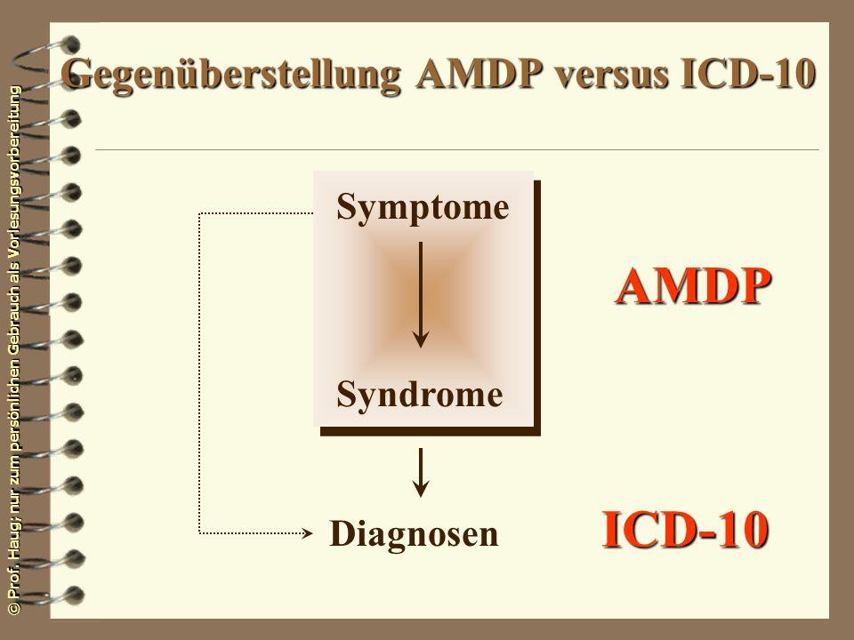 Gegenüberstellung AMDP versus ICD-10