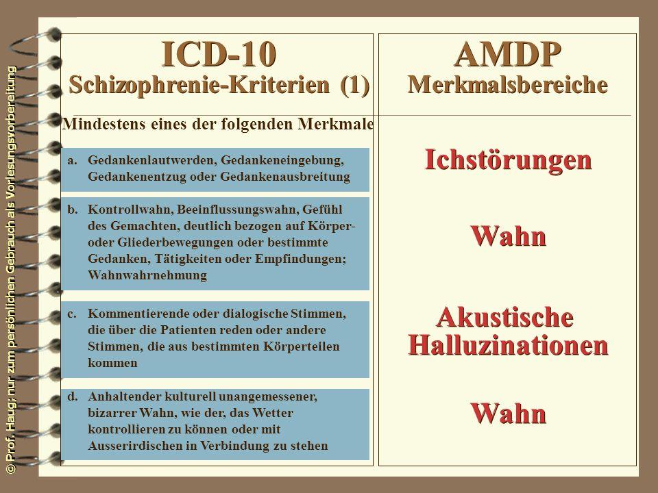 ICD-10 Schizophrenie-Kriterien (1) AMDP Merkmalsbereiche