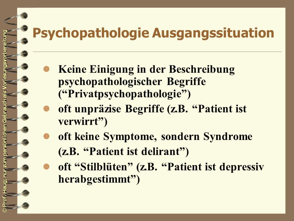 Psychopathologie Ausgangssituation