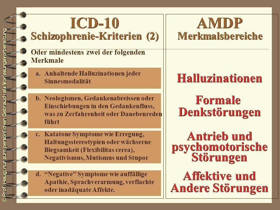 ICD-10 Schizophrenie-Kriterien (2) AMDP Merkmalsbereiche