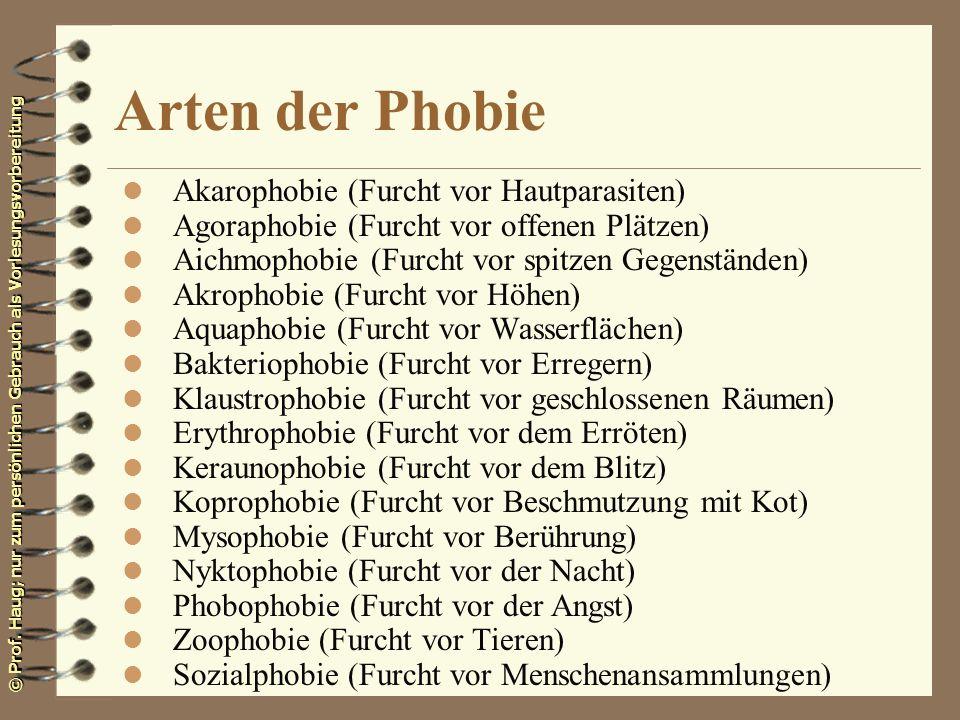Arten der Phobie Akarophobie (Furcht vor Hautparasiten)