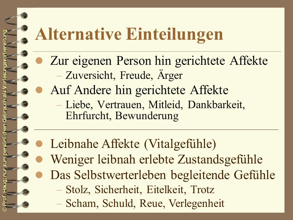 Alternative Einteilungen