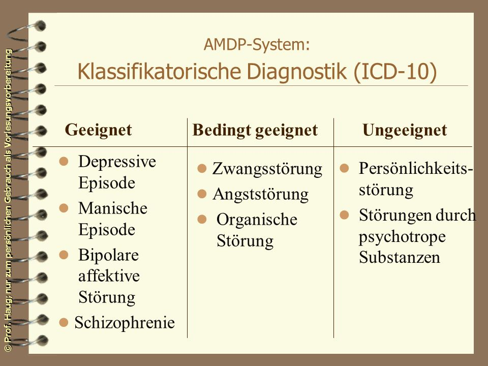 AMDP-System: Klassifikatorische Diagnostik (ICD-10)