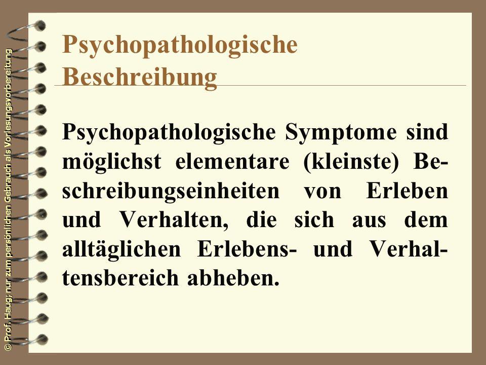 Psychopathologische Beschreibung