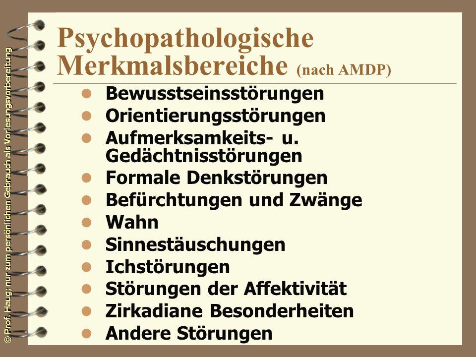 Psychopathologische Merkmalsbereiche (nach AMDP)