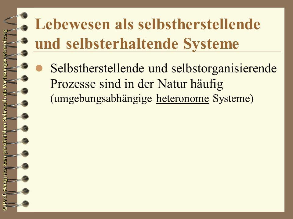 Lebewesen als selbstherstellende und selbsterhaltende Systeme