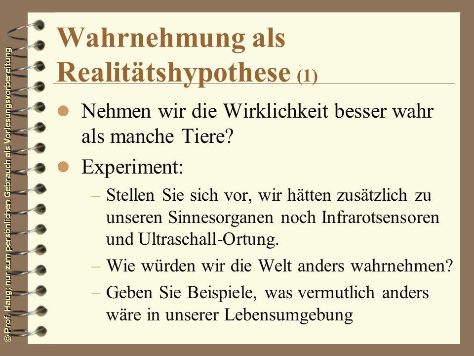 Wahrnehmung als Realitätshypothese (1)