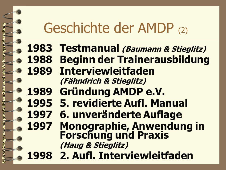 Geschichte der AMDP (2) 1983 Testmanual (Baumann & Stieglitz)
