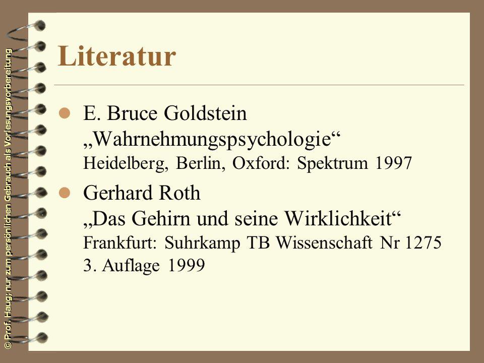 """Literatur E. Bruce Goldstein """"Wahrnehmungspsychologie Heidelberg, Berlin, Oxford: Spektrum 1997."""
