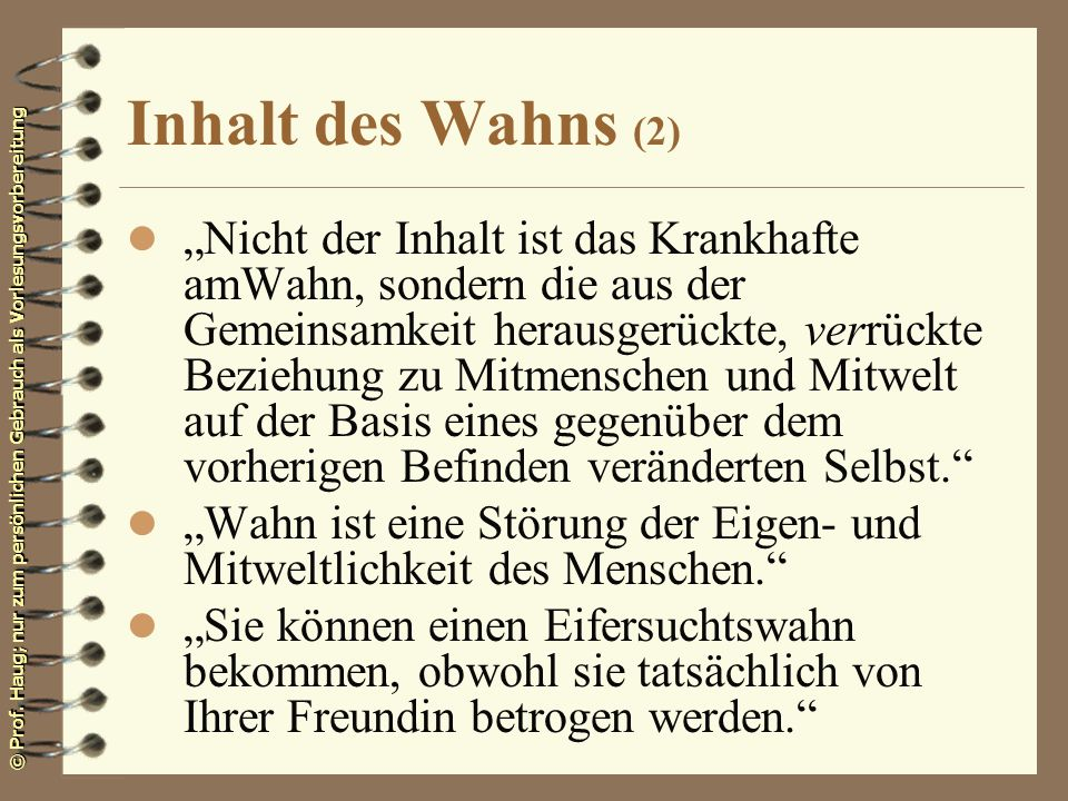 Inhalt des Wahns (2)