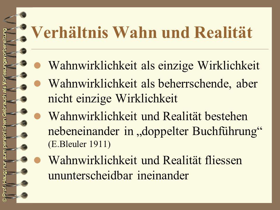 Verhältnis Wahn und Realität