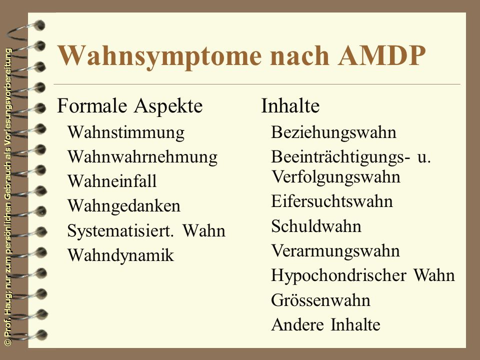 Wahnsymptome nach AMDP