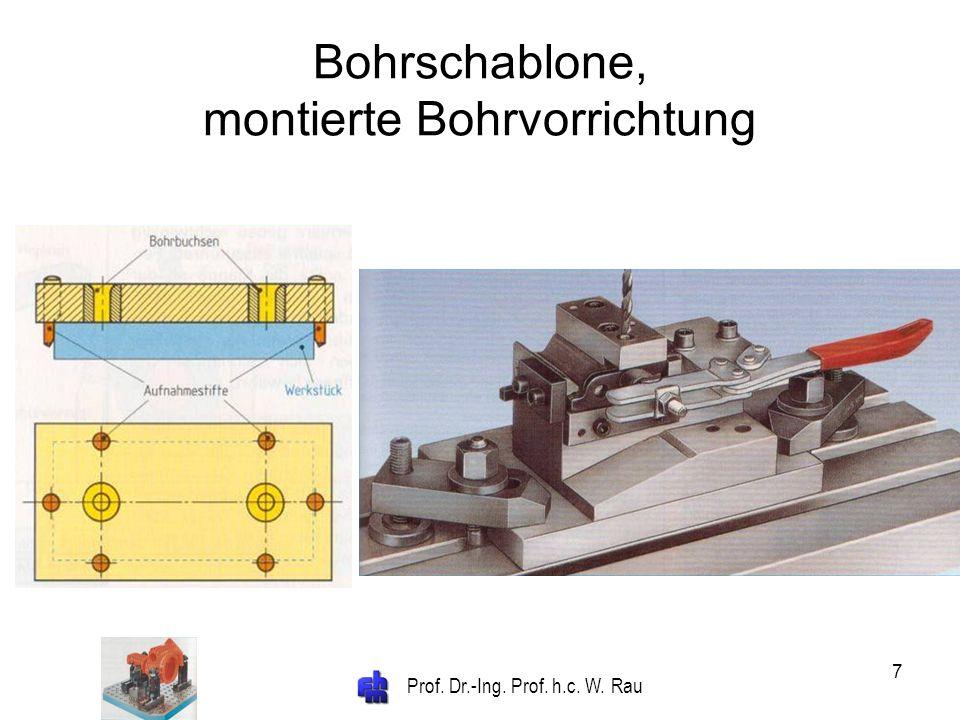 Bohrschablone, montierte Bohrvorrichtung