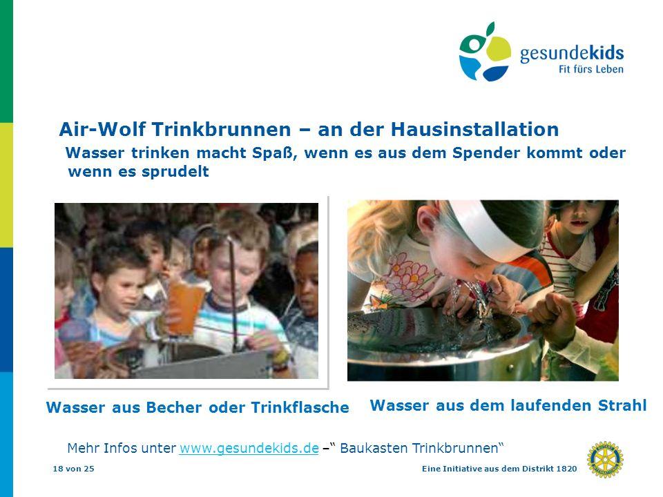 Air-Wolf Trinkbrunnen – an der Hausinstallation Wasser trinken macht Spaß, wenn es aus dem Spender kommt oder wenn es sprudelt