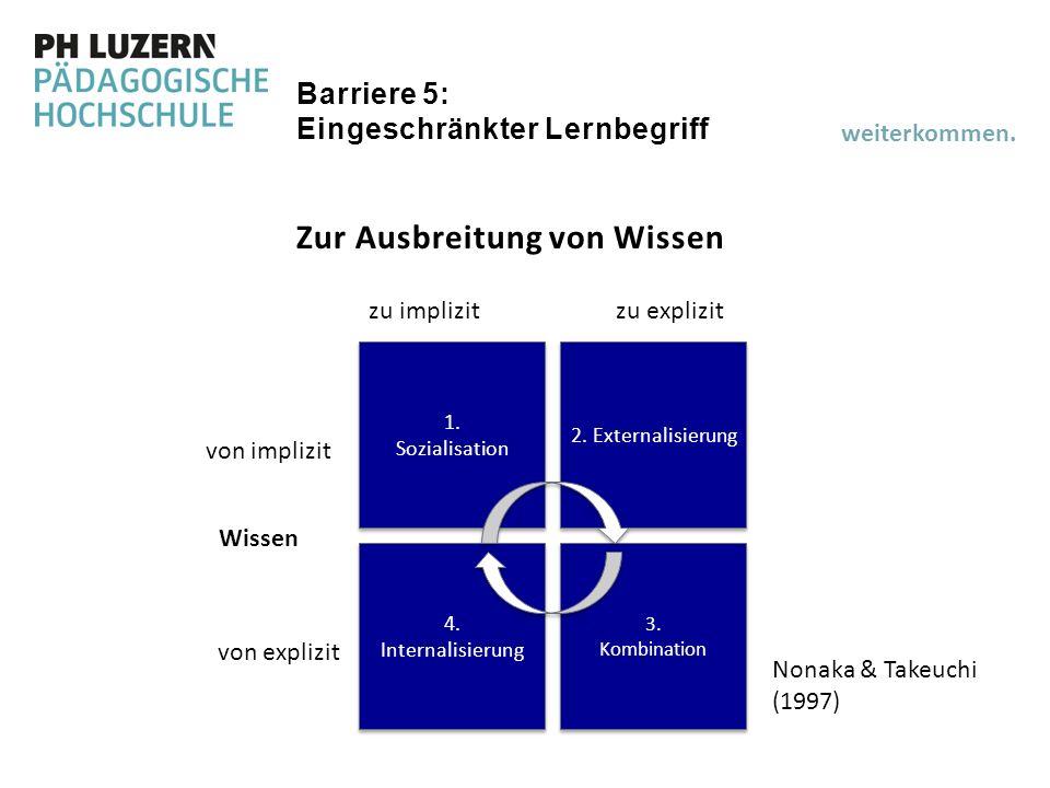 Barriere 5: Eingeschränkter Lernbegriff Zur Ausbreitung von Wissen