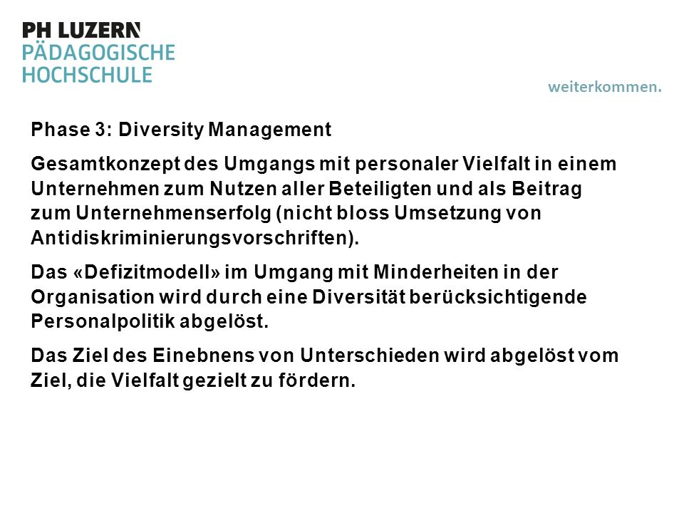 Phase 3: Diversity Management