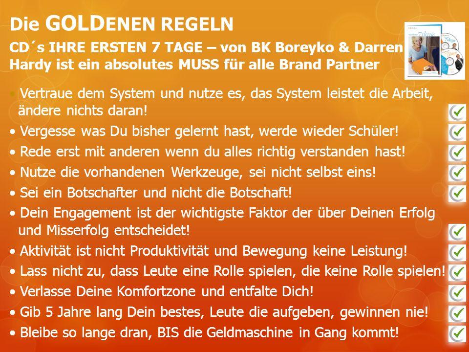 Die GOLDENEN REGELN CD´s IHRE ERSTEN 7 TAGE – von BK Boreyko & Darren Hardy ist ein absolutes MUSS für alle Brand Partner.
