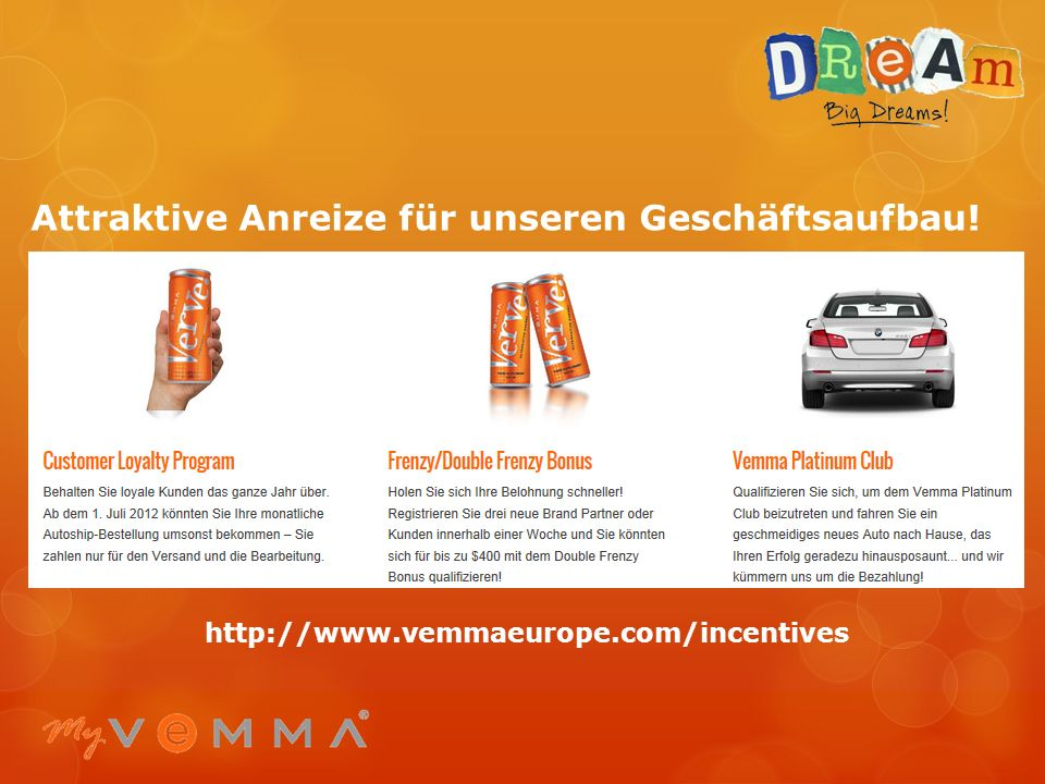 Attraktive Anreize für unseren Geschäftsaufbau!