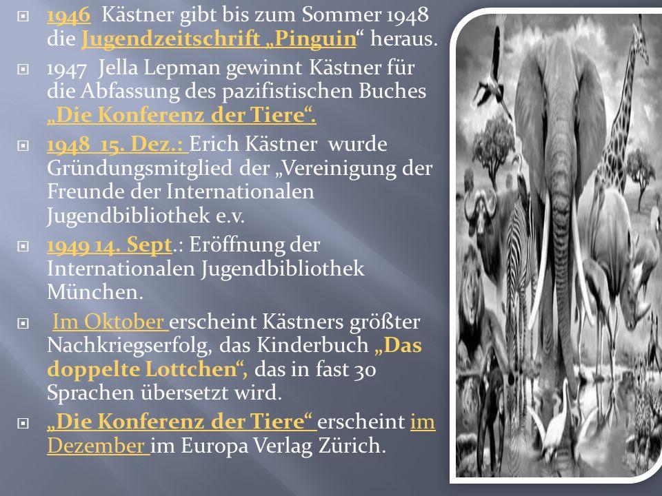 """1946 Kästner gibt bis zum Sommer 1948 die Jugendzeitschrift """"Pinguin heraus."""