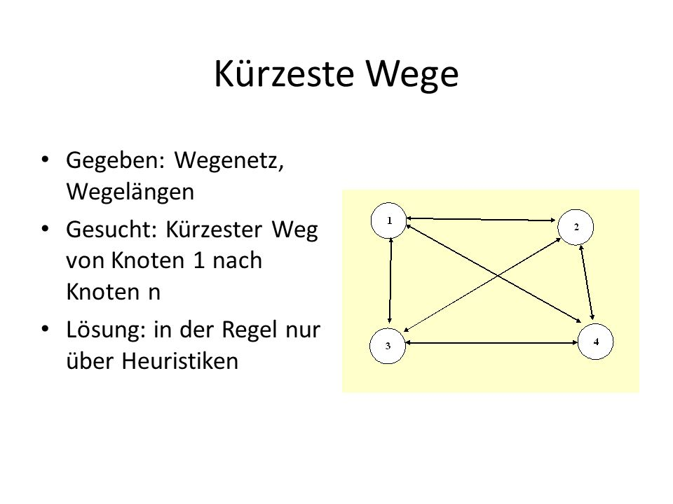 Kürzeste Wege Gegeben: Wegenetz, Wegelängen