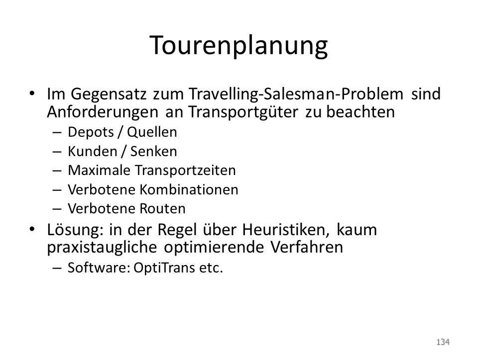 Tourenplanung Im Gegensatz zum Travelling-Salesman-Problem sind Anforderungen an Transportgüter zu beachten.