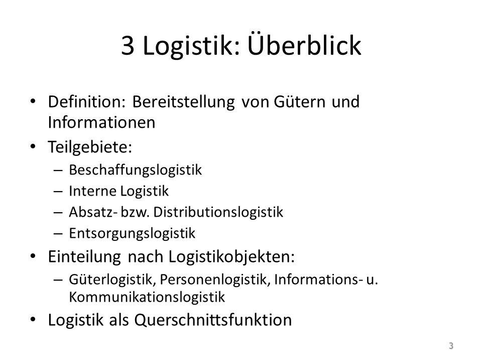 3 Logistik: Überblick Definition: Bereitstellung von Gütern und Informationen. Teilgebiete: Beschaffungslogistik.