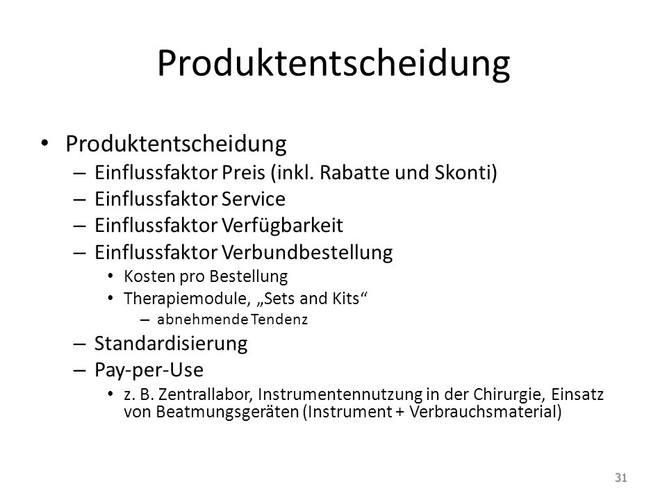 Produktentscheidung Produktentscheidung