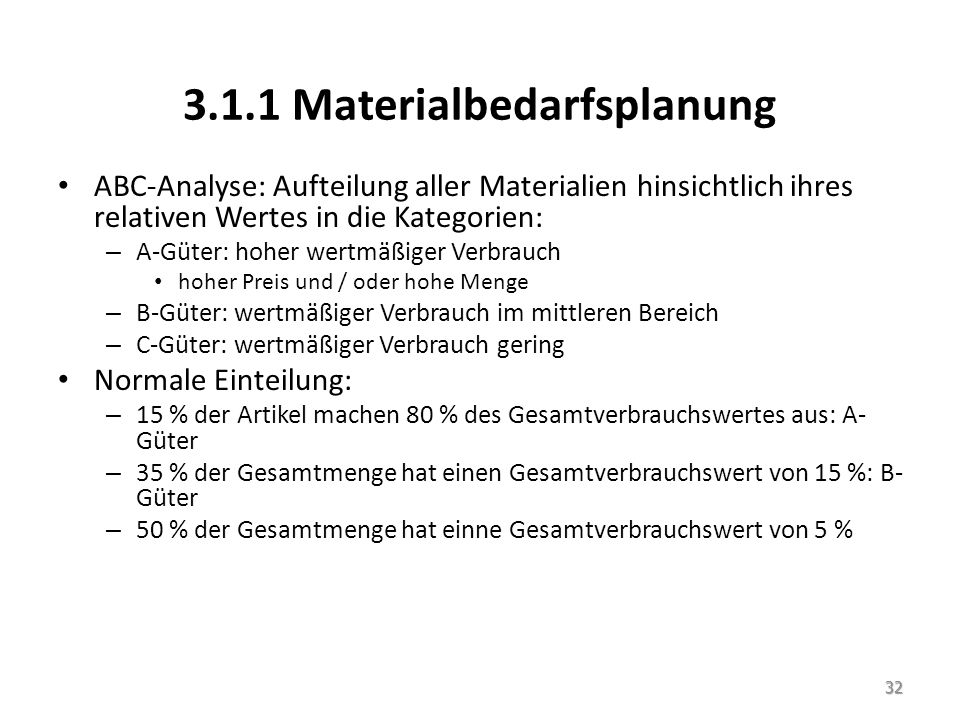 3.1.1 Materialbedarfsplanung