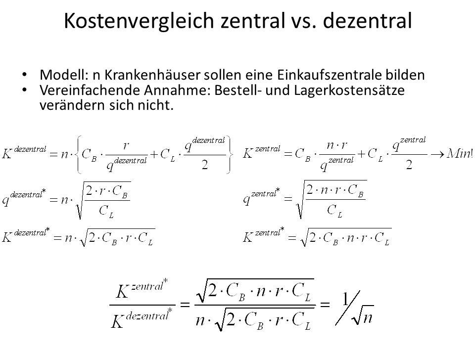 Kostenvergleich zentral vs. dezentral