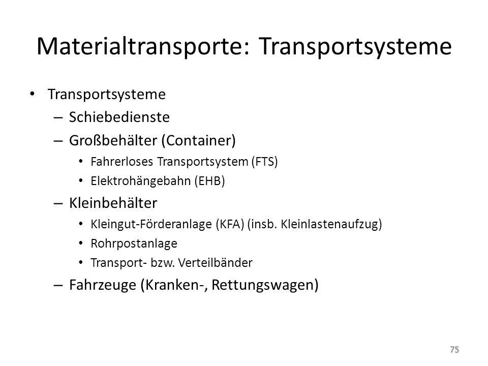 Materialtransporte: Transportsysteme