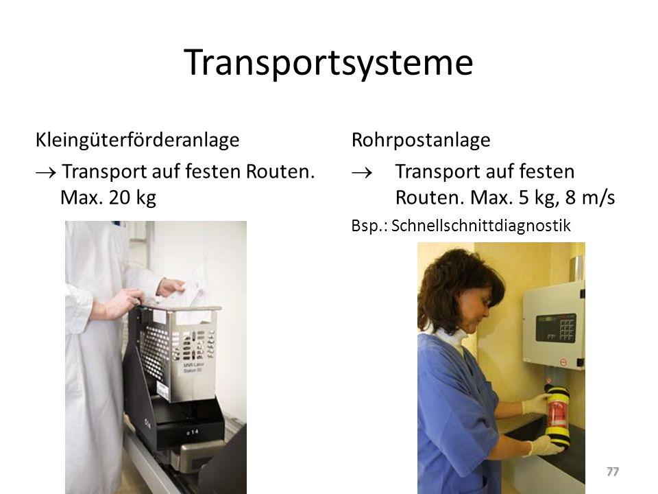 Transportsysteme Kleingüterförderanlage  Transport auf festen Routen. Max. 20 kg Rohrpostanlage.