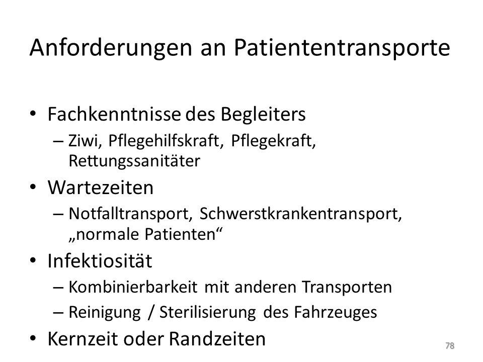 Anforderungen an Patiententransporte