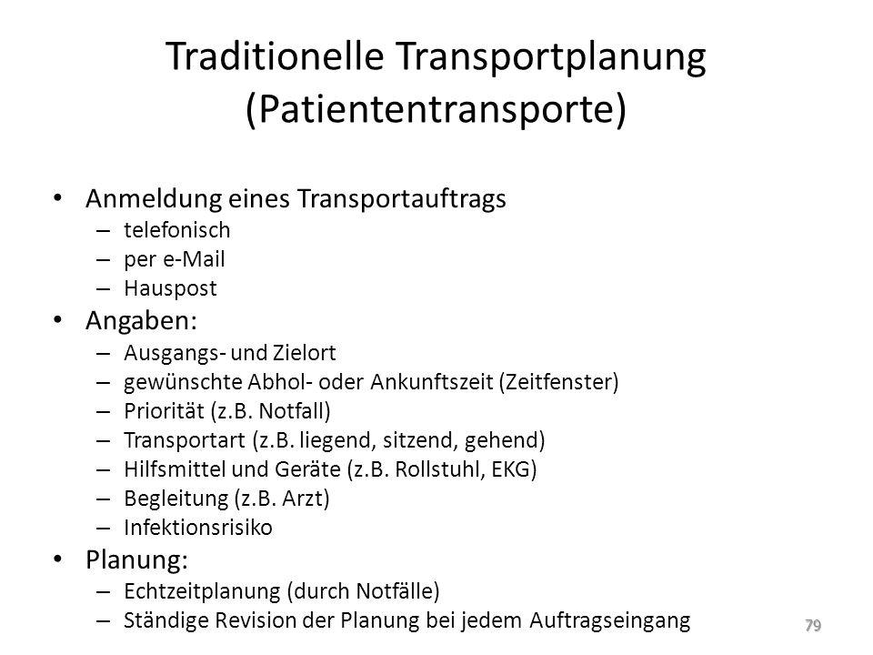 Traditionelle Transportplanung (Patiententransporte)