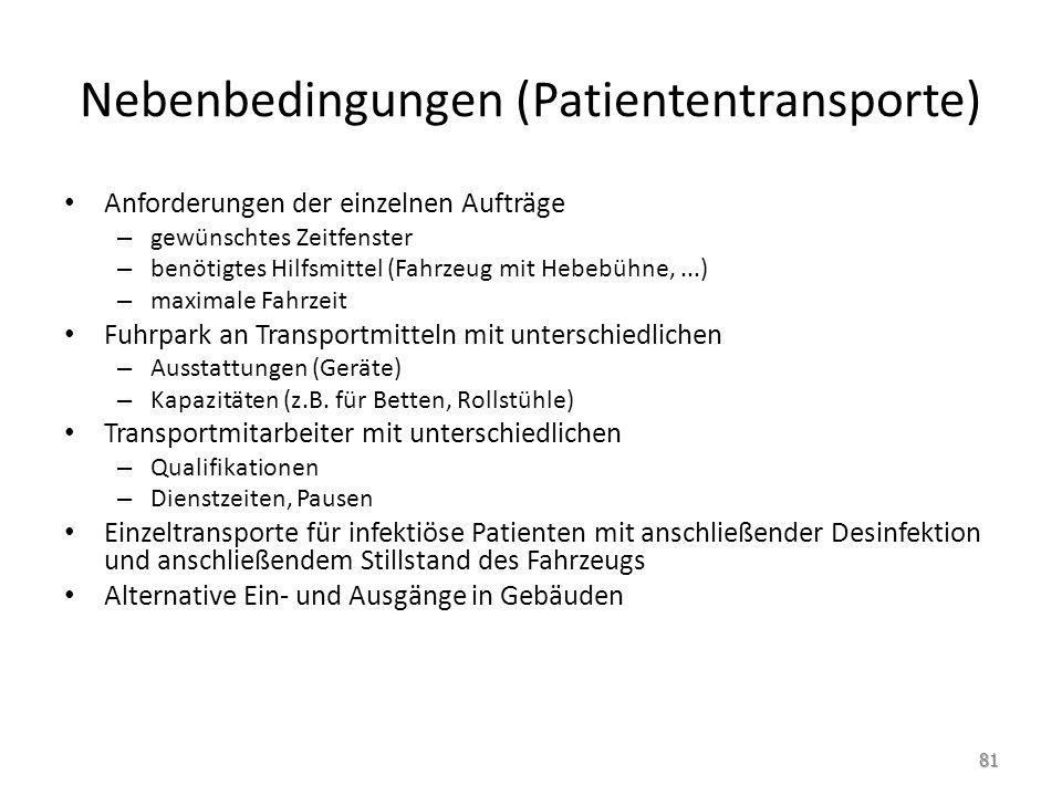 Nebenbedingungen (Patiententransporte)