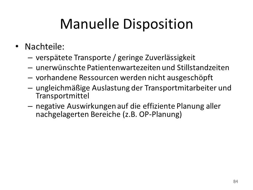 Manuelle Disposition Nachteile: