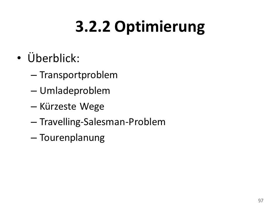 3.2.2 Optimierung Überblick: Transportproblem Umladeproblem
